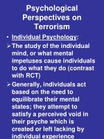psychological perspectives on terrorism