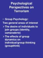 psychological perspectives on terrorism1