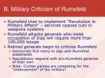 b military criticism of rumsfeld