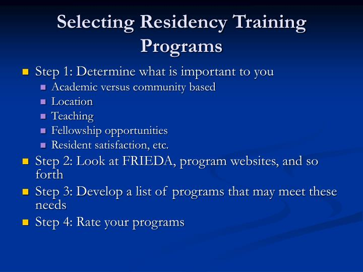 Selecting Residency Training Programs