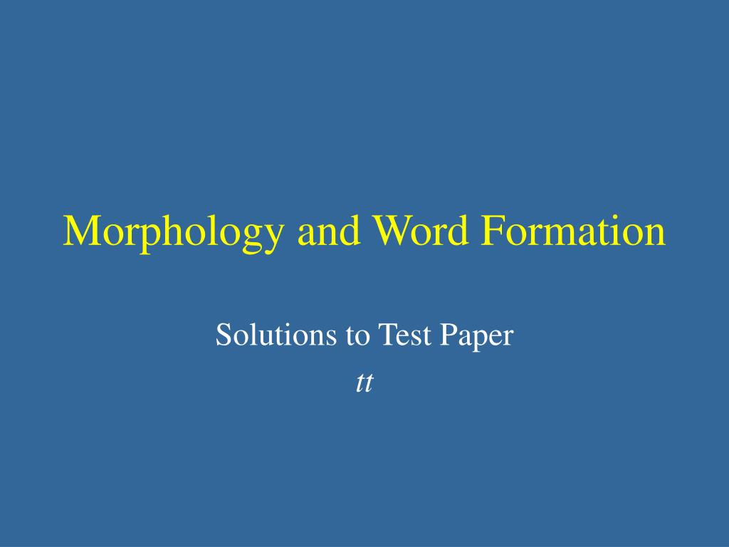 morphology and word formation l.