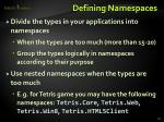 defining namespaces