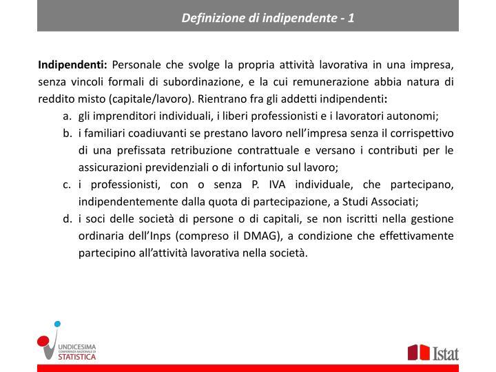 Definizione di indipendente - 1