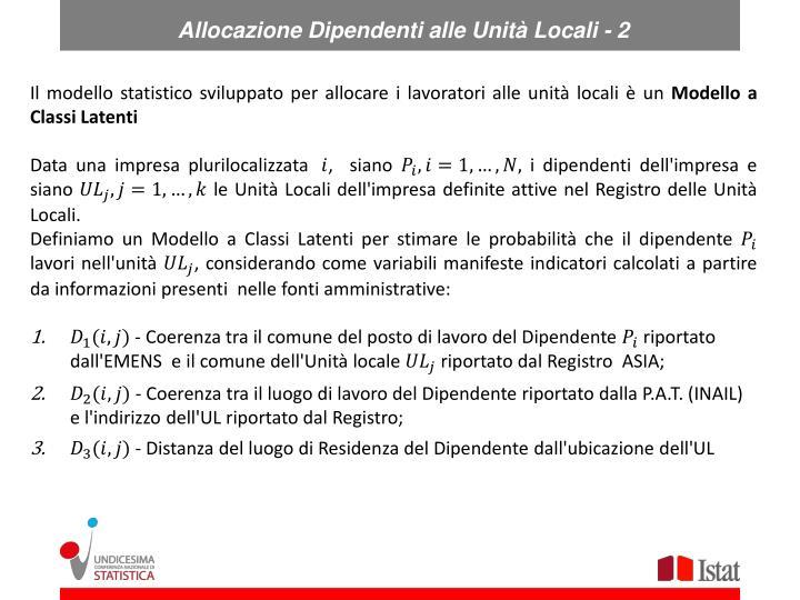 Allocazione Dipendenti alle Unità Locali - 2