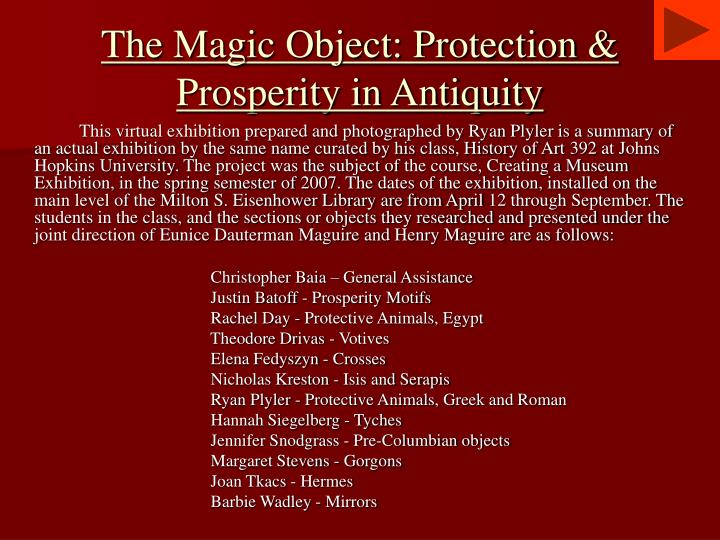 the magic object protection prosperity in antiquity n.