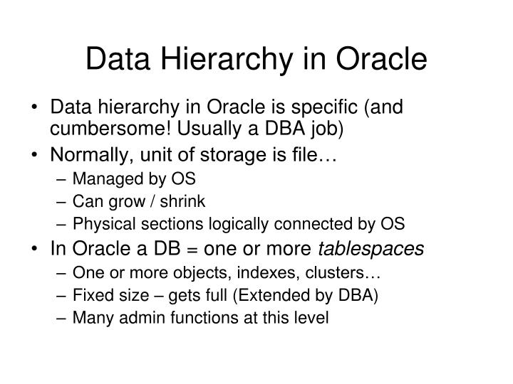 data hierarchy in oracle n.