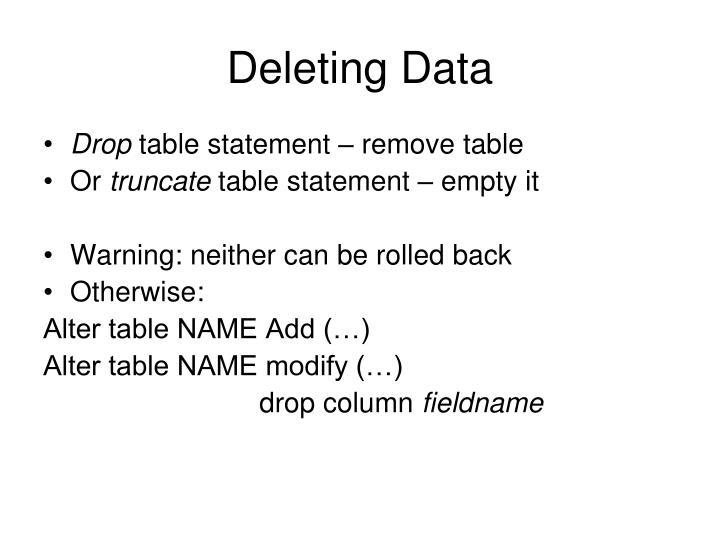 Deleting Data