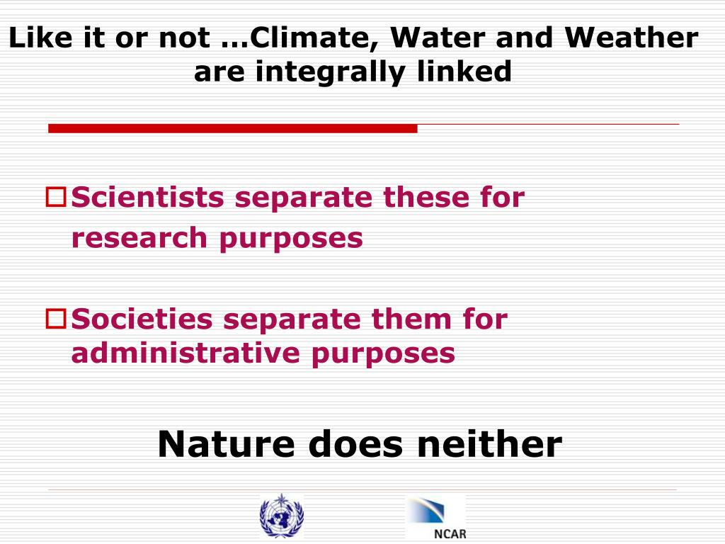 Like it or not …Climate, Water and Weather