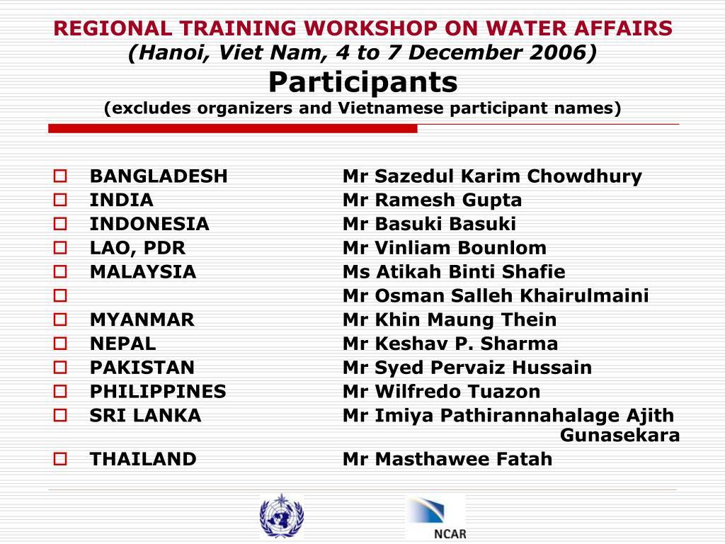 REGIONAL TRAINING WORKSHOP ON WATER AFFAIRS
