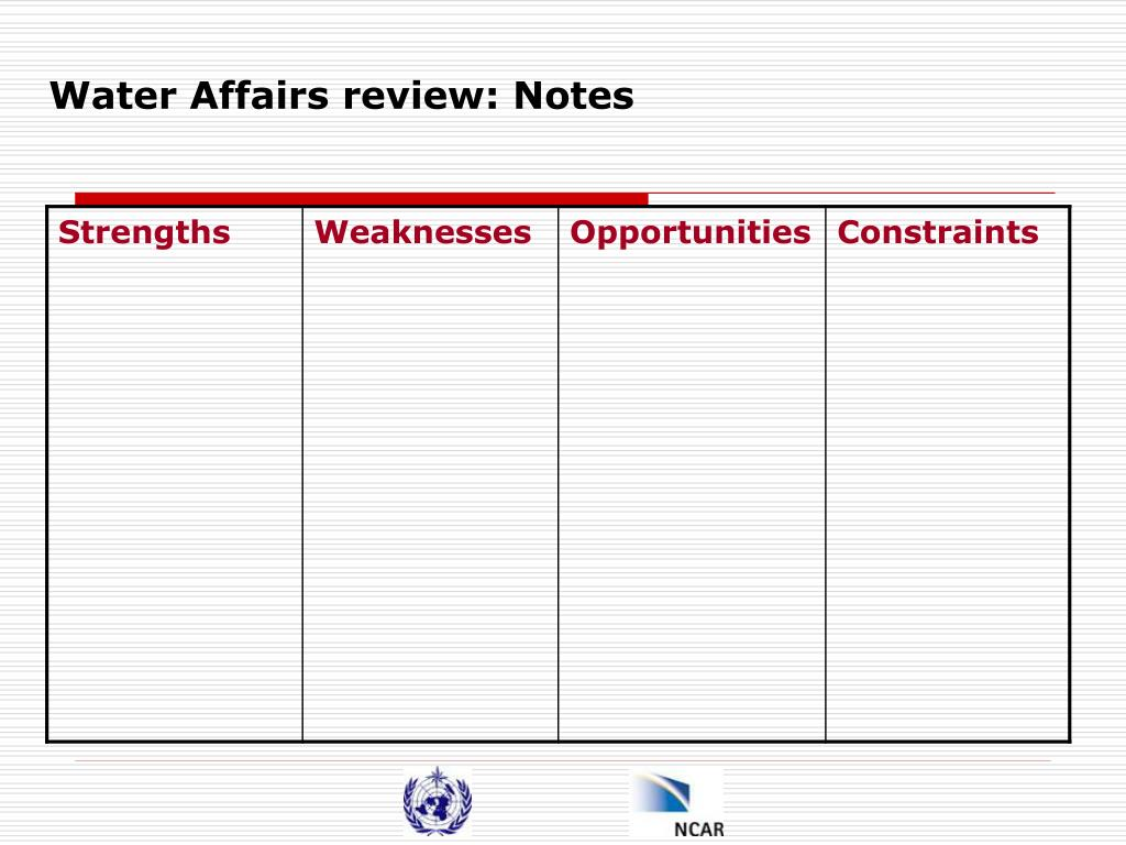Water Affairs review: Notes