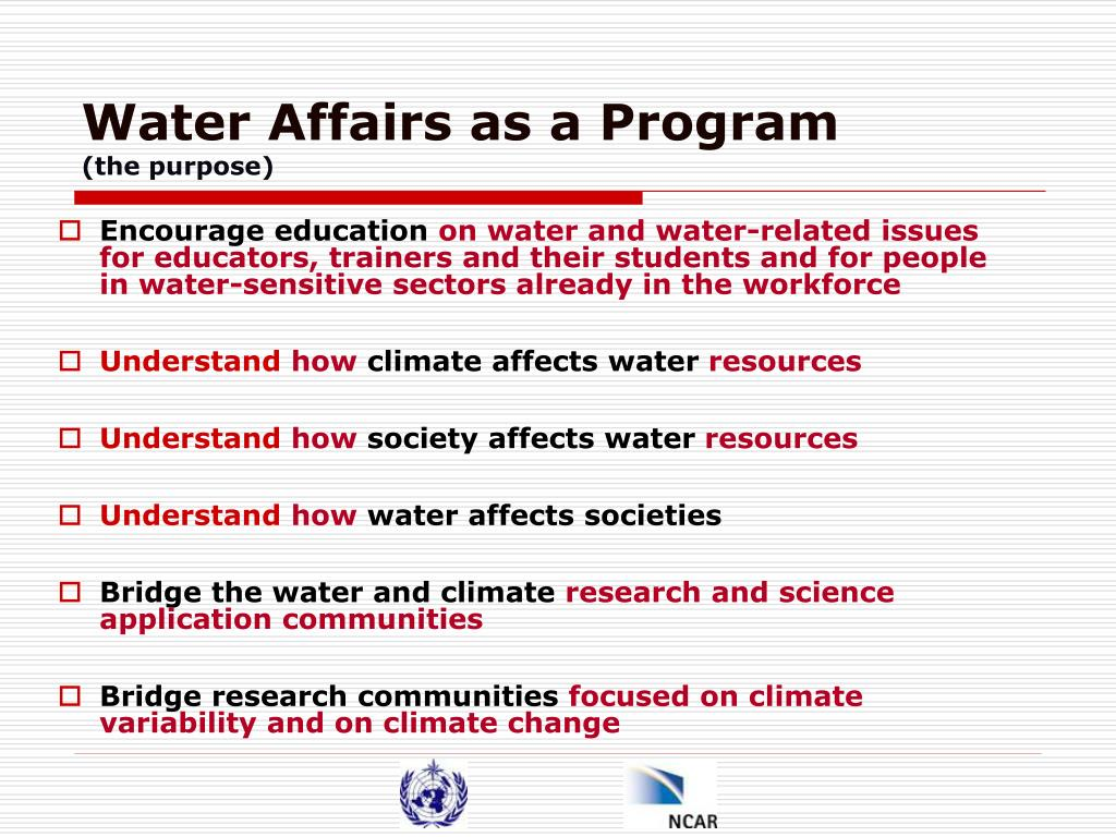 Water Affairs as a Program