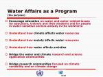 water affairs as a program the purpose