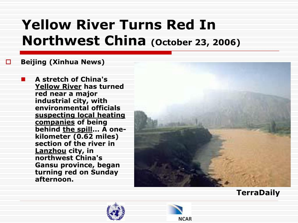 Yellow River Turns Red In Northwest China