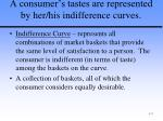 a consumer s tastes are represented by her his indifference curves