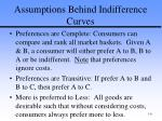 assumptions behind indifference curves
