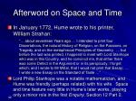 afterword on space and time