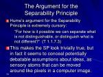 the argument for the separability principle