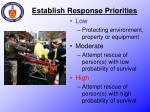 establish response priorities