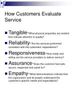 how customers evaluate service