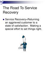 the road to service recovery