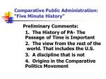 comparative public administration five minute history