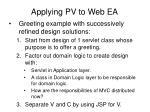 applying pv to web ea1