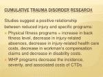 cumulative trauma disorder research