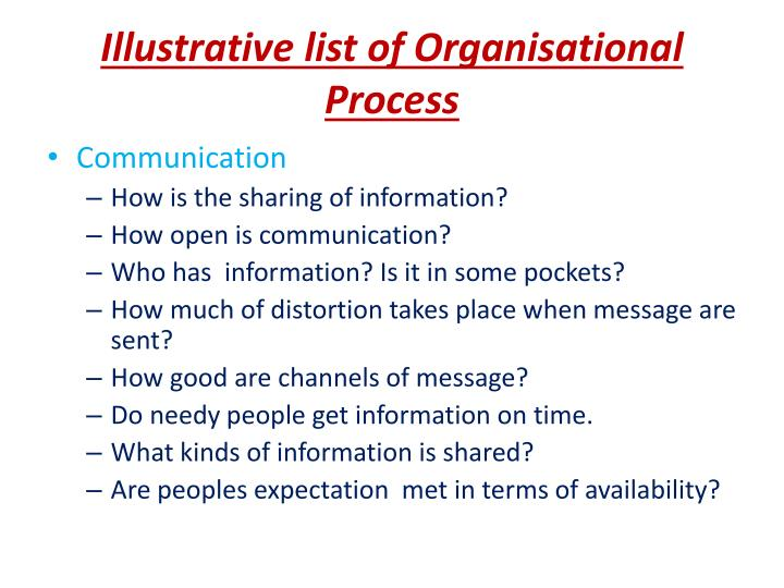 Illustrative list of Organisational Process