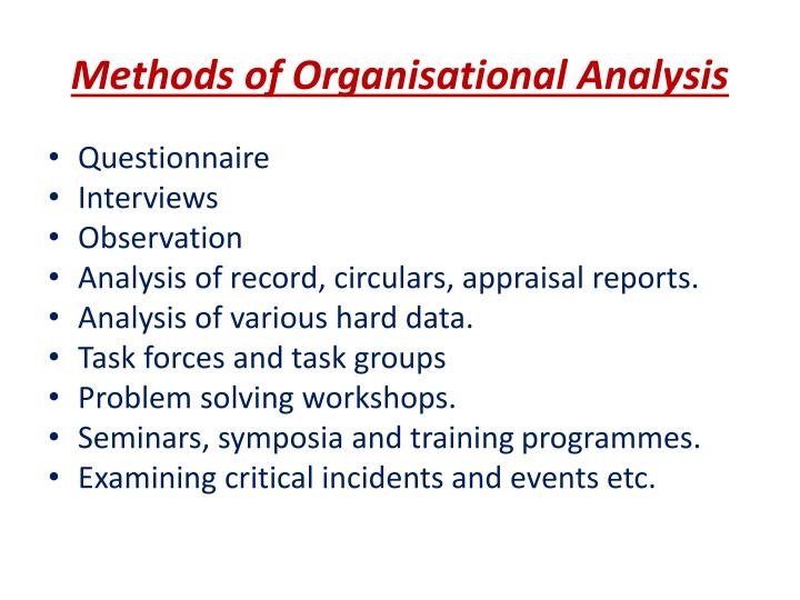 Methods of Organisational Analysis