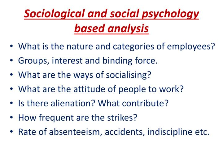 Sociological and social psychology based analysis