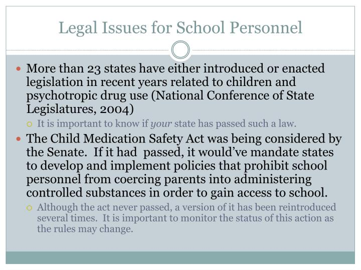 Legal Issues for School Personnel