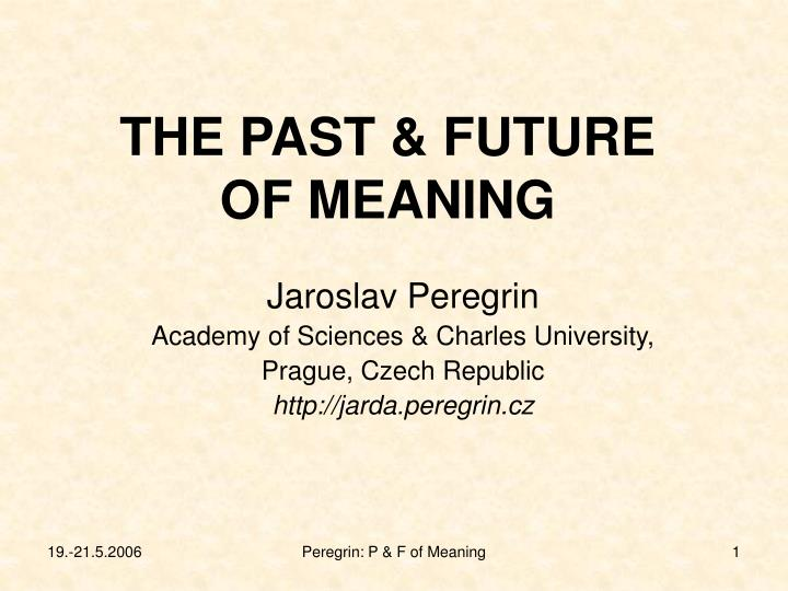 the past future of meaning n.
