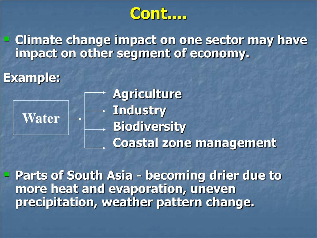 Climate change impact on one sector may have impact on other segment of economy.