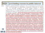 rpji overrinding reasons in public interest