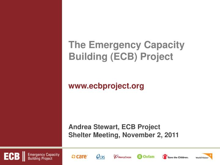 the emergency capacity building ecb project n.