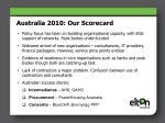 australia 2010 our scorecard