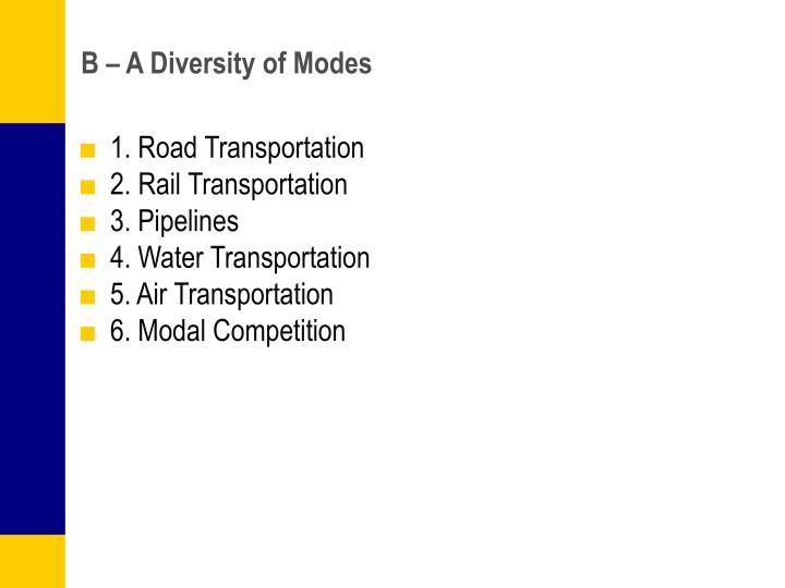 B – A Diversity of Modes