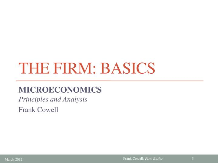 the firm basics n.