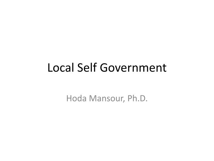 local self government n.