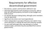 requirements for effective decentralised government