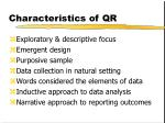 characteristics of qr