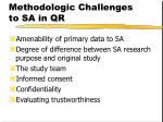 methodologic challenges to sa in qr