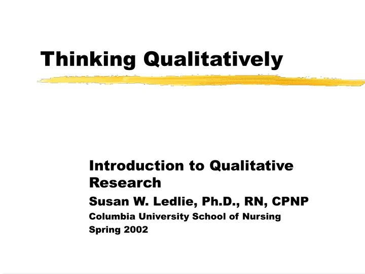thinking qualitatively n.