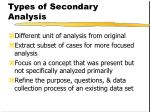 types of secondary analysis