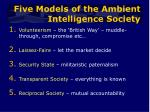 five models of the ambient intelligence society