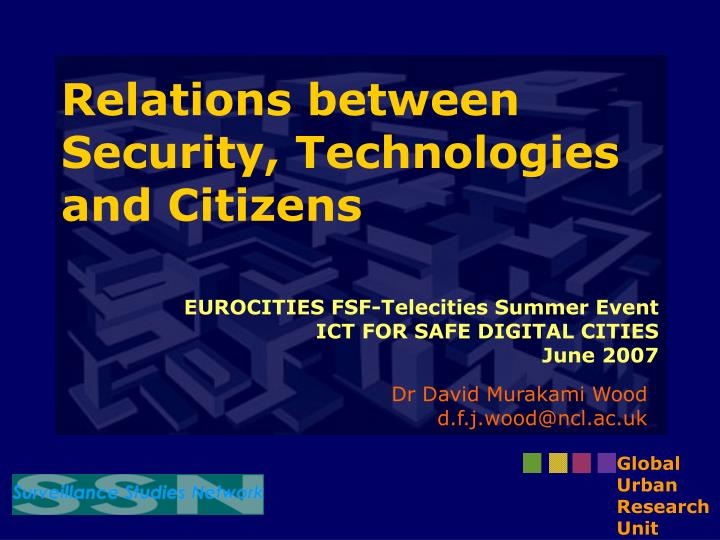 relations between security technologies and citizens n.