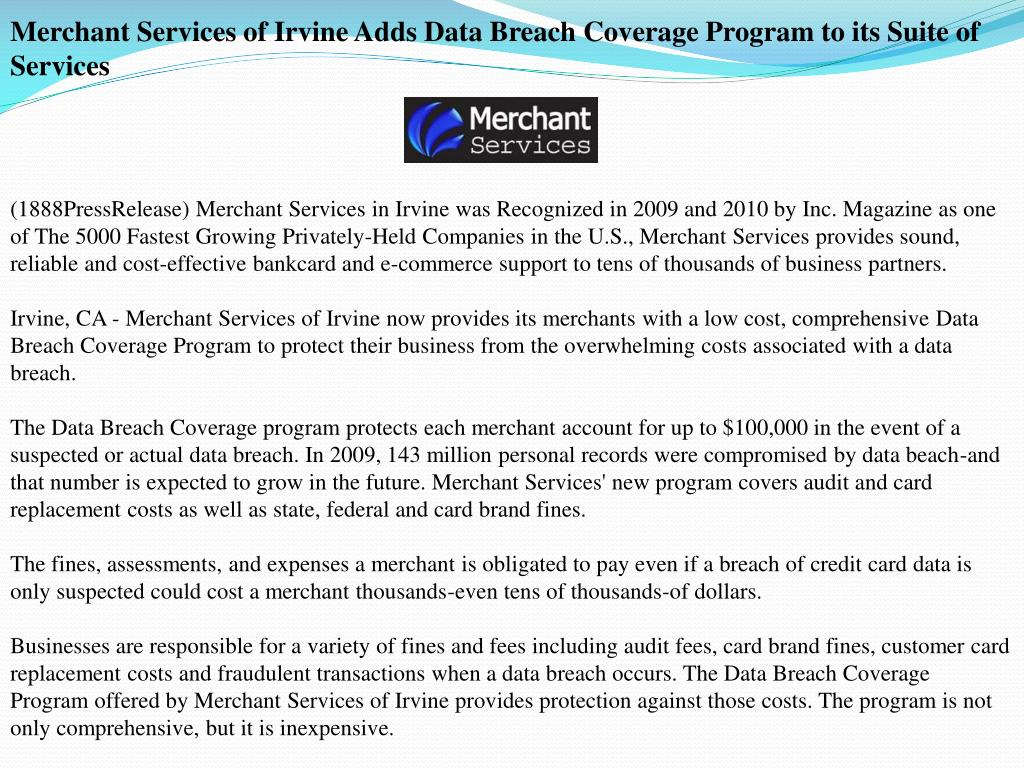 Merchant Services of Irvine Adds Data Breach Coverage Program to its Suite of Services