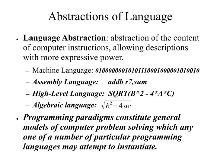 Abstractions of Language