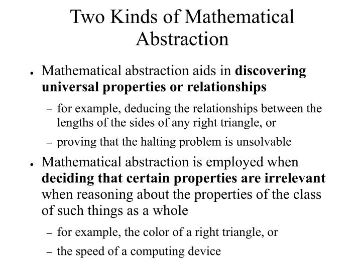 Two Kinds of Mathematical Abstraction