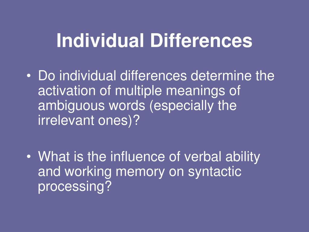 individual differences Individual differences in academically related characteristics can make for success or failure in one of life's most important pursuits—obtaining an education.